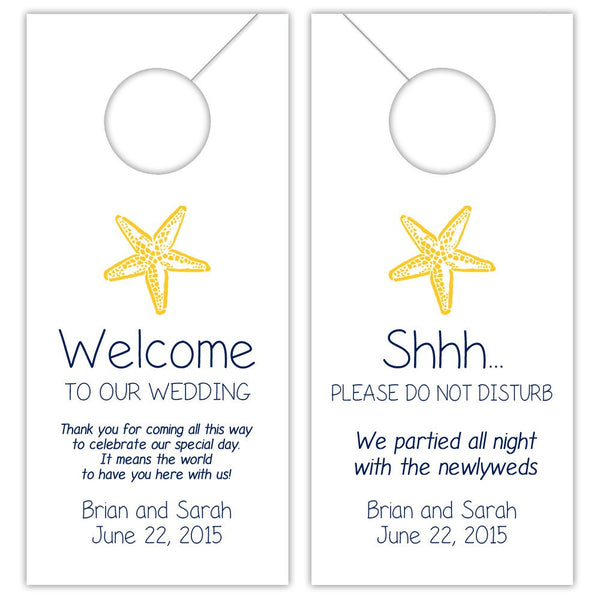 Wedding door hangers 'Beach Beauty' - Navy/Yellow - Dazzling Daisies