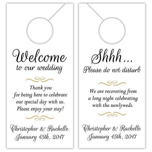 Wedding door hangers 'Charming Swirl' - Gold - Dazzling Daisies