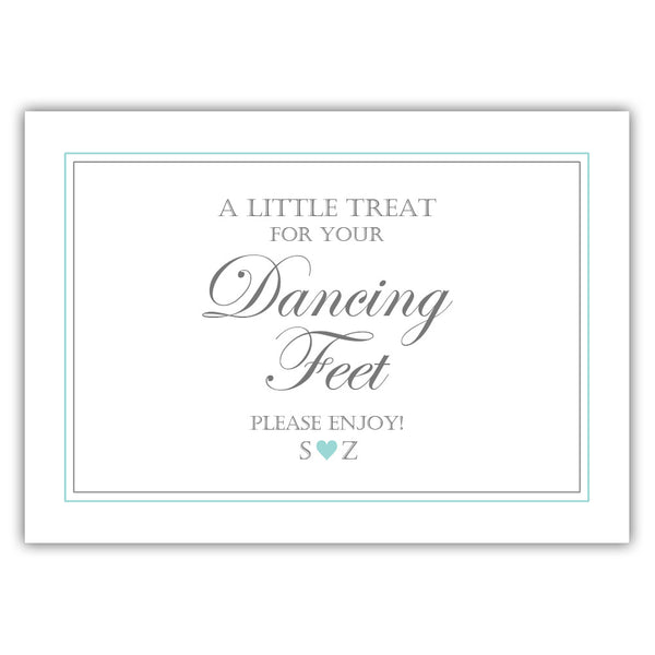 "Wedding dancing shoes sign - 5x7"" / Aquamarine - Dazzling Daisies"