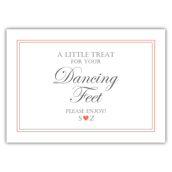 "Wedding dancing shoes sign - 5x7"" / Coral - Dazzling Daisies"