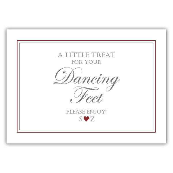 "Wedding dancing shoes sign - 5x7"" / Maroon - Dazzling Daisies"