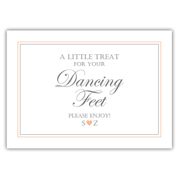 "Wedding dancing shoes sign - 5x7"" / Peach - Dazzling Daisies"