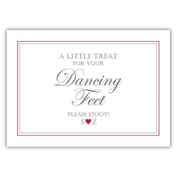 "Wedding dancing shoes sign - 5x7"" / Raspberry - Dazzling Daisies"