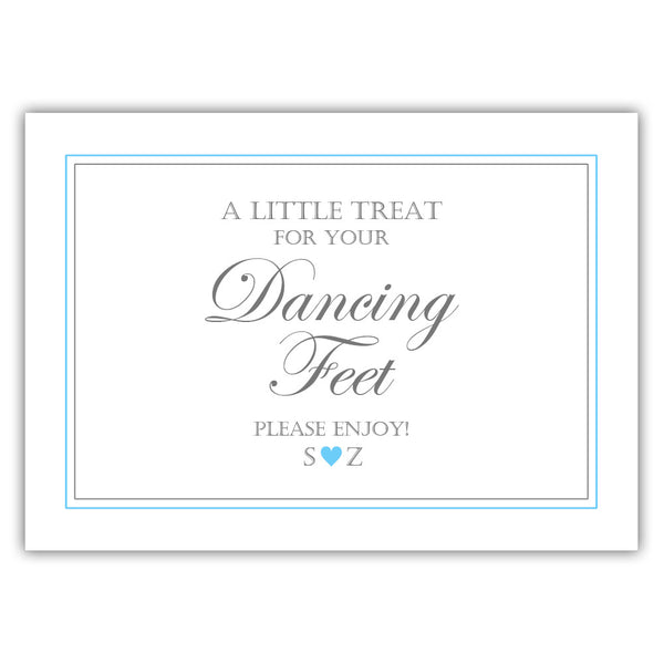 "Wedding dancing shoes sign - 5x7"" / Sky blue - Dazzling Daisies"