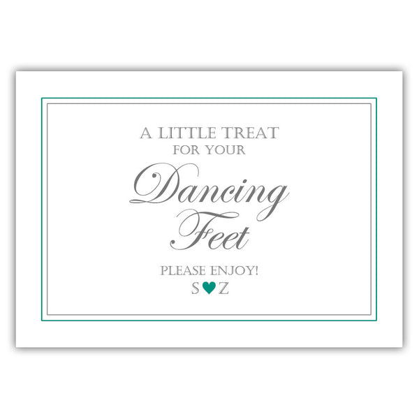 "Wedding dancing shoes sign - 5x7"" / Teal - Dazzling Daisies"