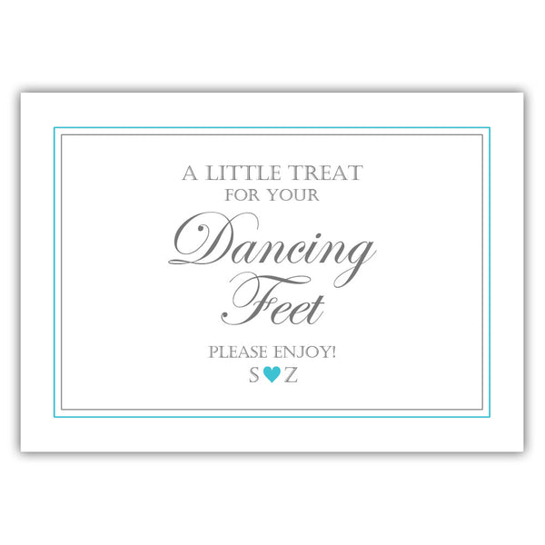 "Wedding dancing shoes sign - 5x7"" / Turquoise - Dazzling Daisies"