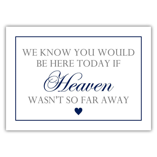 "We know you would be here today sign - 5x7"" / Navy - Dazzling Daisies"