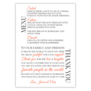 Wedding menu thank you cards - Coral - Dazzling Daisies