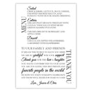 Wedding menu thank you cards - Black - Dazzling Daisies