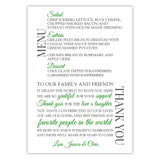 Wedding menu thank you cards - Green - Dazzling Daisies