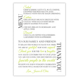 Wedding menu thank you cards - Lime - Dazzling Daisies