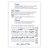 Wedding menu thank you cards - Navy - Dazzling Daisies