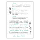 Wedding menu thank you cards - Ocean - Dazzling Daisies