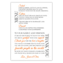 Wedding menu thank you cards - Orange - Dazzling Daisies