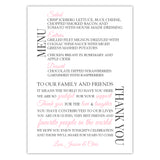 Wedding menu thank you cards - Pink - Dazzling Daisies