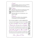 Wedding menu thank you cards - Plum - Dazzling Daisies
