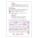 Wedding menu thank you cards - Purple - Dazzling Daisies