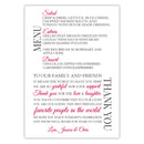 Wedding menu thank you cards - Raspberry - Dazzling Daisies