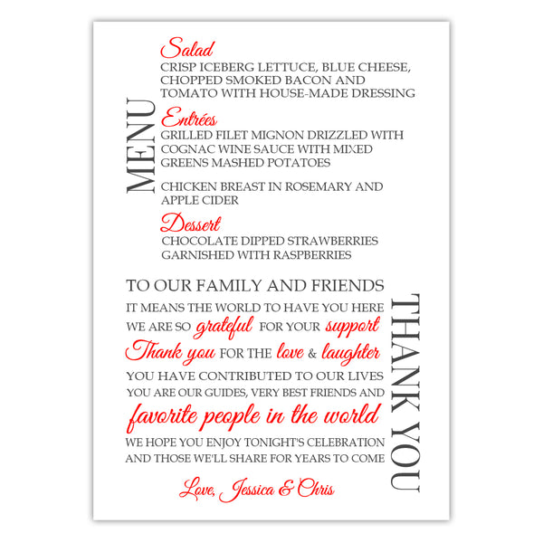 Wedding menu thank you cards - Red - Dazzling Daisies
