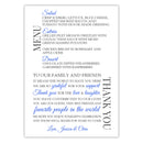 Wedding menu thank you cards - Royal blue - Dazzling Daisies