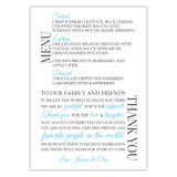 Wedding menu thank you cards - Sky blue - Dazzling Daisies