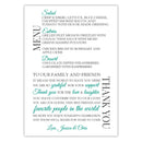 Wedding menu thank you cards - Teal - Dazzling Daisies