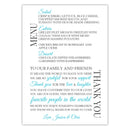 Wedding menu thank you cards - Turquoise - Dazzling Daisies