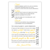 Wedding menu thank you cards - Yellow - Dazzling Daisies