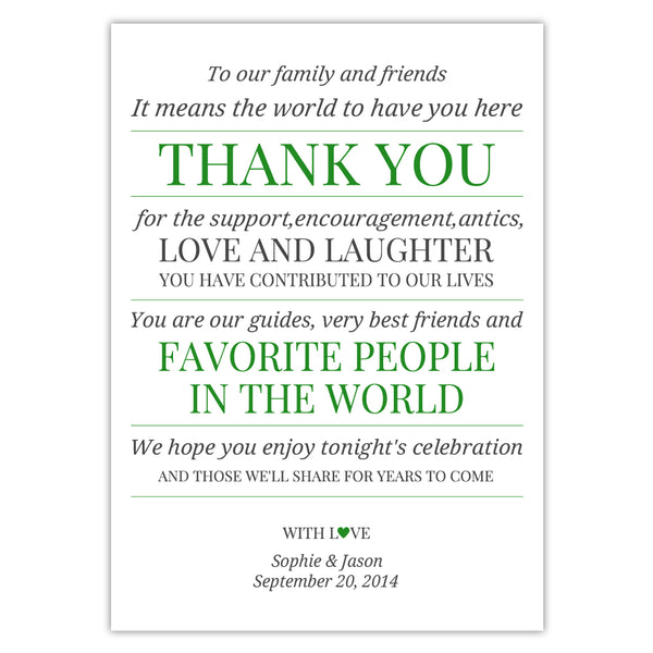 Wedding reception thank you cards 'Modern Formal' - Green - Dazzling Daisies