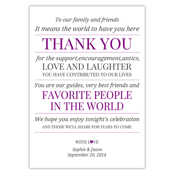 Wedding reception thank you cards 'Modern Formal' - Purple - Dazzling Daisies