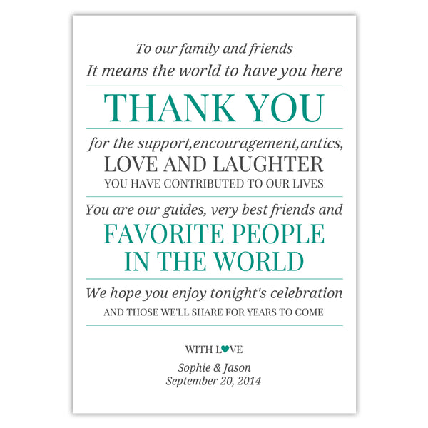 Wedding reception thank you cards 'Modern Formal' - Teal - Dazzling Daisies