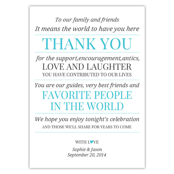 Wedding reception thank you cards 'Modern Formal' - Turquoise - Dazzling Daisies