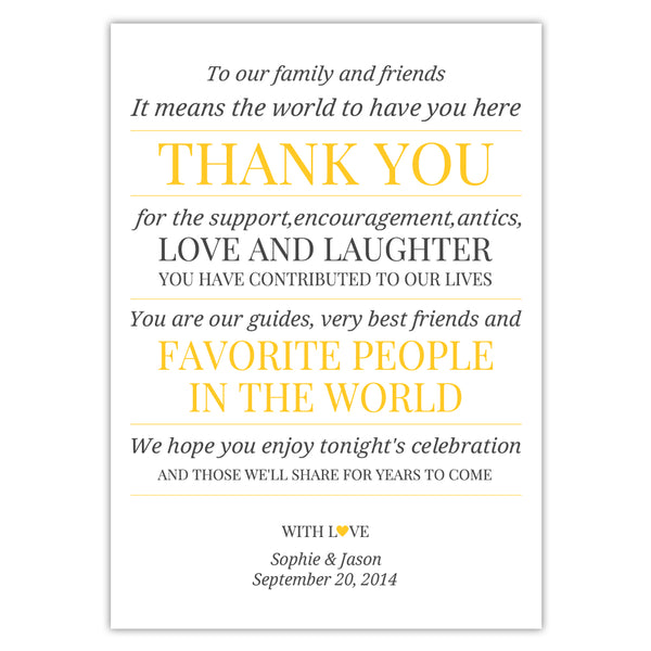Wedding reception thank you cards 'Modern Formal' - Yellow - Dazzling Daisies