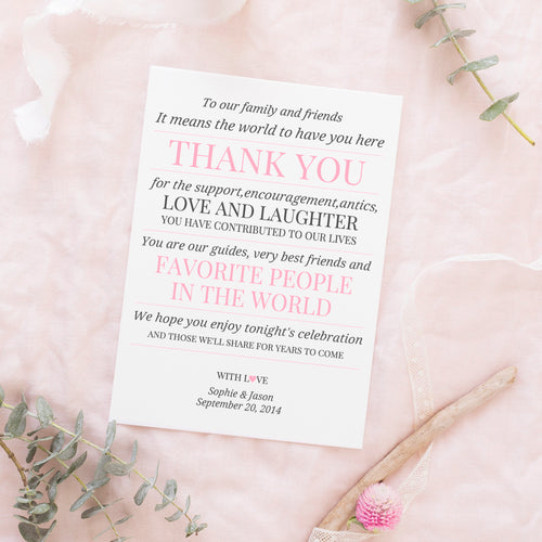 Wedding reception thank you cards 'Modern Formal' -  - Dazzling Daisies