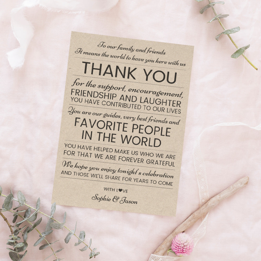 Thank You Wedding Cards.Wedding Reception Thank You Cards Rustic Lines