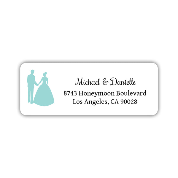 Wedding return address labels 'Bride and Groom' - Aquamarine - Dazzling Daisies