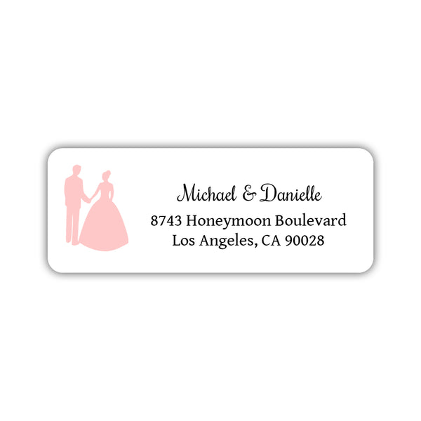 Wedding return address labels 'Bride and Groom' - Blush - Dazzling Daisies