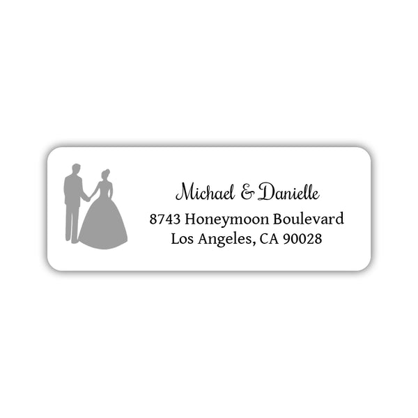 Wedding return address labels 'Bride and Groom' - Silver - Dazzling Daisies