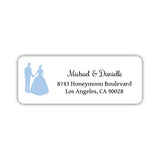 Wedding return address labels 'Bride and Groom' - Steel blue - Dazzling Daisies