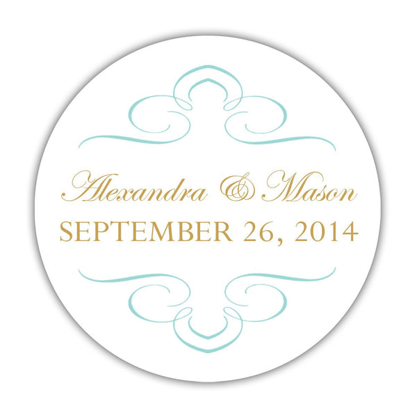 "Favor stickers 'Ornate Symmetry' - 1.5"" circle = 30 labels per sheet / Aquamarine - Dazzling Daisies"