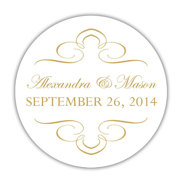 "Favor stickers 'Ornate Symmetry' - 1.5"" circle = 30 labels per sheet / Gold - Dazzling Daisies"