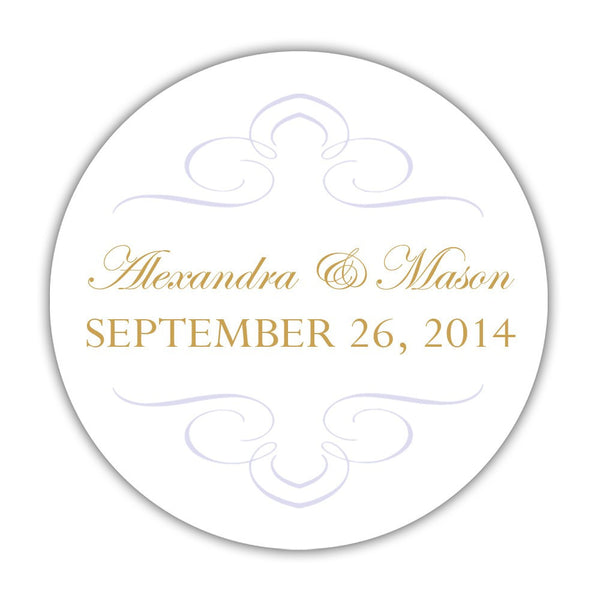 "Favor stickers 'Ornate Symmetry' - 1.5"" circle = 30 labels per sheet / Lavender - Dazzling Daisies"
