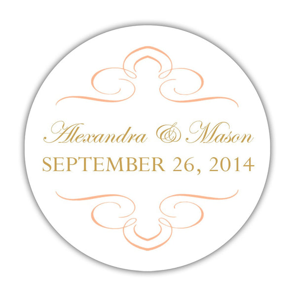 "Favor stickers 'Ornate Symmetry' - 1.5"" circle = 30 labels per sheet / Peach - Dazzling Daisies"