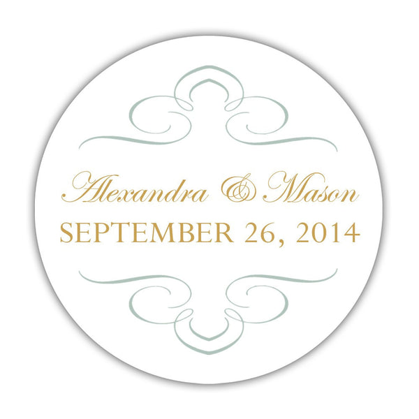 "Favor stickers 'Ornate Symmetry' - 1.5"" circle = 30 labels per sheet / Sage - Dazzling Daisies"