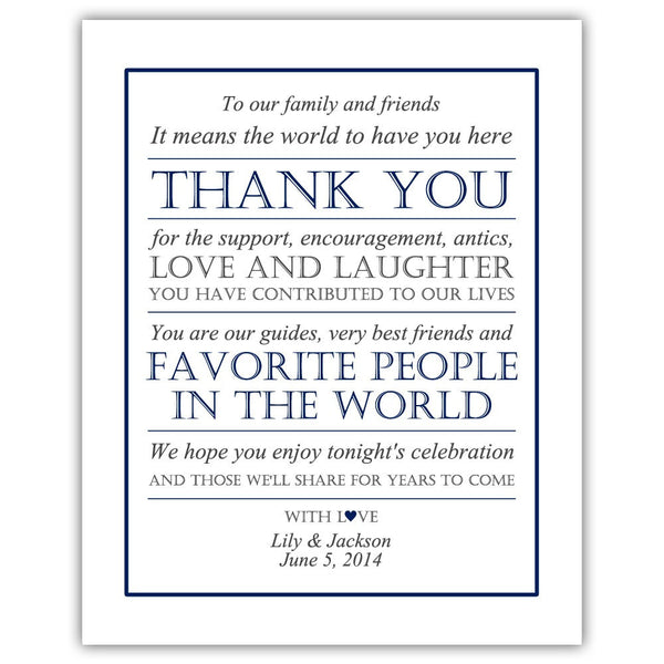Wedding thank you sign - Navy - Dazzling Daisies