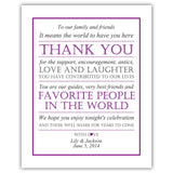 Wedding thank you sign - Purple - Dazzling Daisies