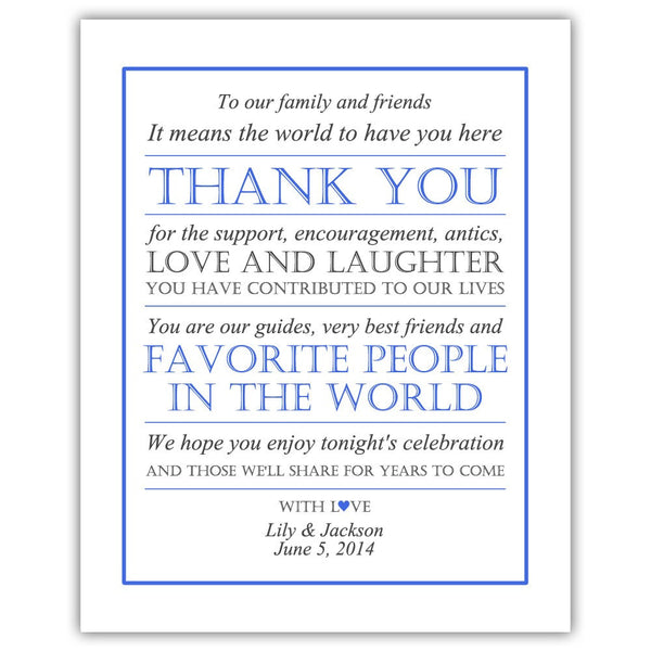 Wedding thank you sign - Royal blue - Dazzling Daisies