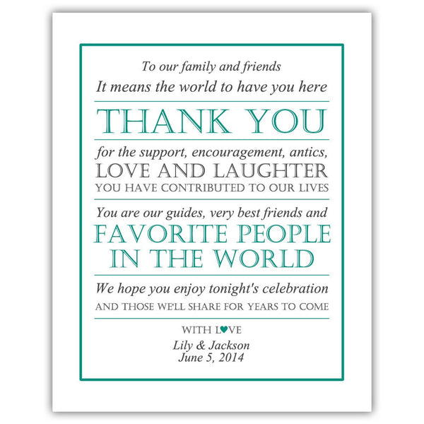 Wedding thank you sign - Teal - Dazzling Daisies