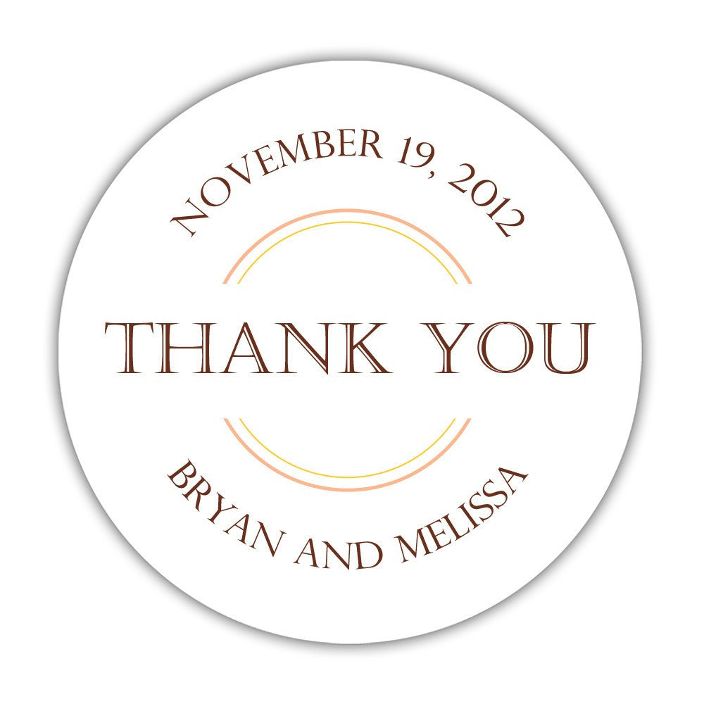 wedding thank you stickers circles dazzling daisies