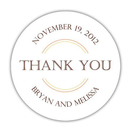 "Wedding thank you stickers circles - 1.5"" circle = 30 labels per sheet / Chocolate - Dazzling Daisies"